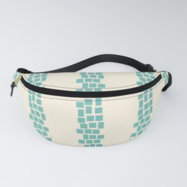 Turquoise irregular rectangles on beige Fanny Pack
