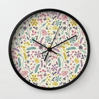 candy Wall Clocks featuring Retro Blooms (Candy) by Anna Deegan