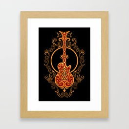 Intricate Red and Yellow Electric Guitar Design Framed Art Print