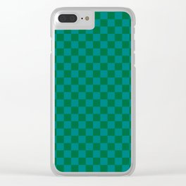 Teal Green and Cadmium Green Checkerboard Clear iPhone Case