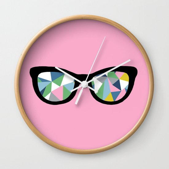 Abstract Eyes on Pink Wall Clock