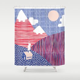 House in the Hills Pink & Blue Shower Curtain