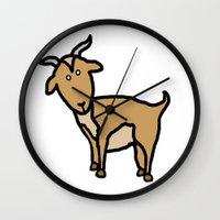 goat Wall Clocks featuring Goat by Luke Roach