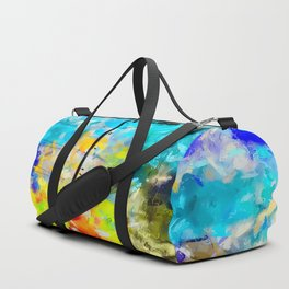 ferris wheel with blue yellow green painting texture abstract background Duffle Bag