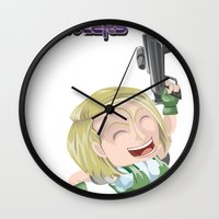 valentina Wall Clocks featuring Lola Valentina  by PocketBrawlers