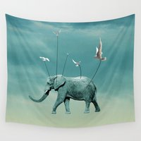 elephant Wall Tapestries featuring elephant by mark ashkenazi