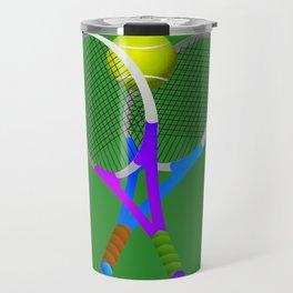 Tennis Rackets and Ball Travel Mug