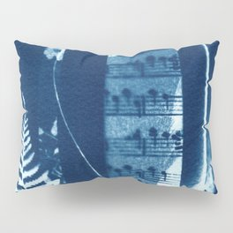 Music of the Wild Flowers, collage, blue print, cyanotype print, wall art, wall decor Pillow Sham