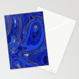 Marble Map - blue and gold Stationery Cards