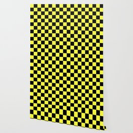 Black and Yellow Checkerboard Pattern Wallpaper