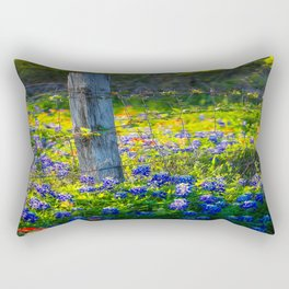 Country Living - Fence Post and Vines Among Bluebonnets and Indian Paintbrush Wildflowers Rectangular Pillow