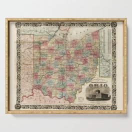 Colton's township map of the State of Ohio (1851) Serving Tray
