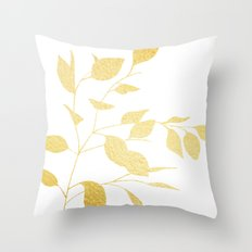 Leaves Gold Throw Pillow
