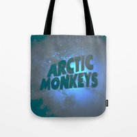 arctic monkeys Tote Bags featuring Arctic Monkeys by SLIDE