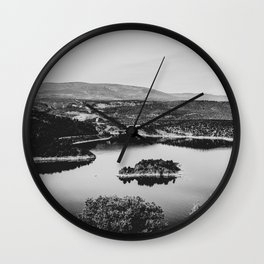 Little Mountain Island // Black and White Lake Photograph in Colorado Wall Clock