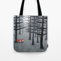 trees Tote Bags featuring The Fox and the Forest by Nic Squirrell
