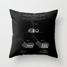Golf Club Patent - Black Throw Pillow