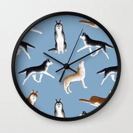 Husky Pattern (Blue Gray Background) Wall Clock