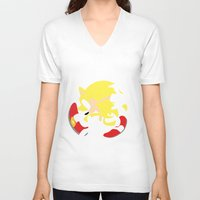 sonic V-neck T-shirts featuring Super Sonic by JHTY