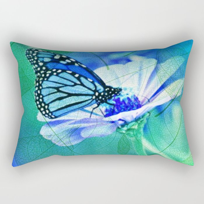 Butterfly, Flower And Leaves Rectangular Pillow