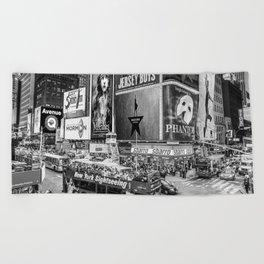Times Square II (B&W widescreen) Beach Towel