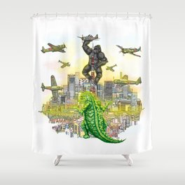 Godzilla vs King Kong  in tokyo ? Shower Curtain