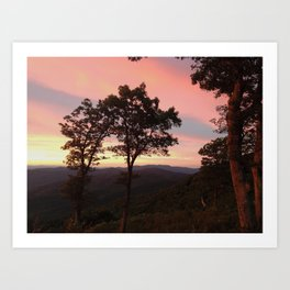 Pink Horizon, Mountains Art Print