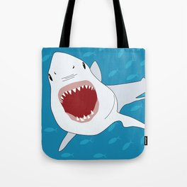 Shark Attack Underwater With Fish Swimming In The Background Tote Bag