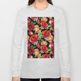 Hand painted black red watercolor roses floral Long Sleeve T-shirt