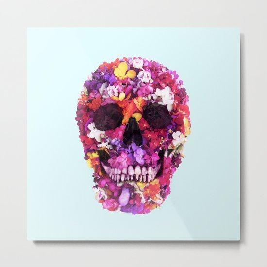 FLOWERS SKULL Metal Print