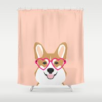 doge Shower Curtains featuring Corgi Love - Valentines heart shaped glasses on funny dog for dog lovers pet gifts customizable dog  by PetFriendly