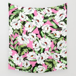 White Spring Flowers Wall Tapestry