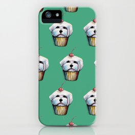 """Cherry on Pup"" Maltese Cake Pattern Green iPhone Case"