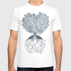 Grounded Tree White MEDIUM Mens Fitted Tee