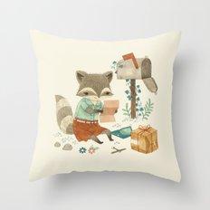 Raccoon Post Throw Pillow