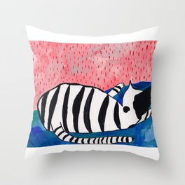 The sleeping black and white striped cat Throw Pillow