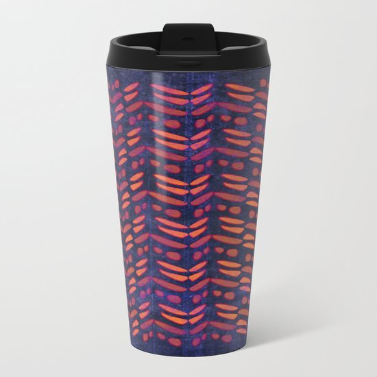 Tribal Pattern on Indigo Metal Travel Mug