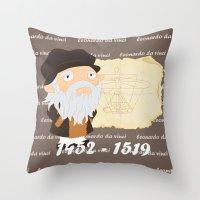 da vinci Throw Pillows featuring Leonardo da Vinci by Alapapaju