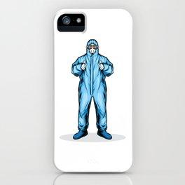 Man Wearing Medical Hazmat Suit iPhone Case