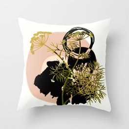 Umbellifer and abstract background Throw Pillow