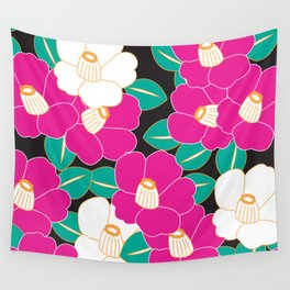 Shades of Tsubaki - Pink & Black Wall Tapestry