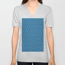 Blue Faux Leather Texture Geometric Pattern Unisex V-Neck