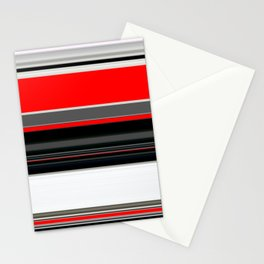 red white black grey striped pattern Stationery Cards