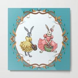 Dressed Easter bunnies 2a Metal Print