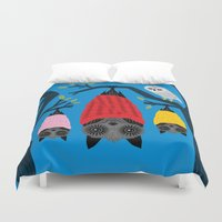 blankets Duvet Covers featuring Bats in Blankets by Oliver Lake
