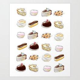 Watercolor Desserts pattern Art Print
