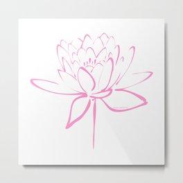 Lotus Blossom Calligraphy Pink Metal Print