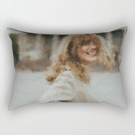 digital oil painting of a faceless woman in a trench coat laughing in the camera Rectangular Pillow