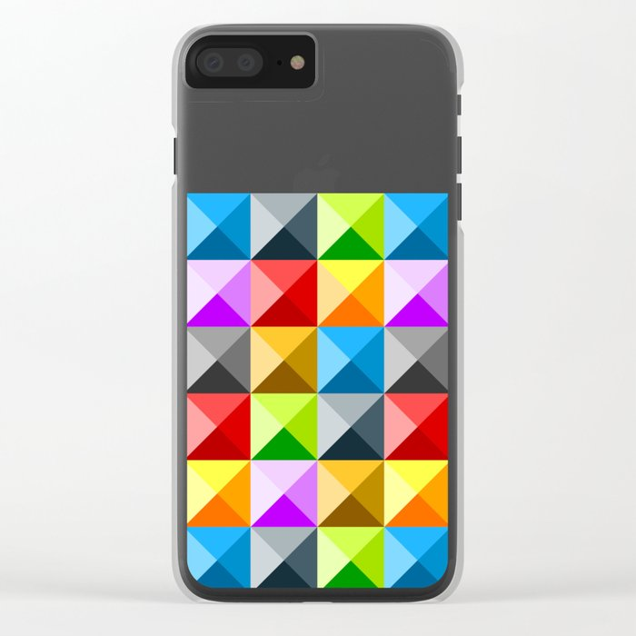 Colorful quarter square triangle pattern Clear iPhone Case