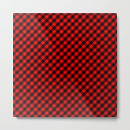 Diagonal Red and Black Buffalo Check Plaid Tartan Metal Print